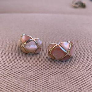 Sterling Mother of Pearl Hoop Earrings